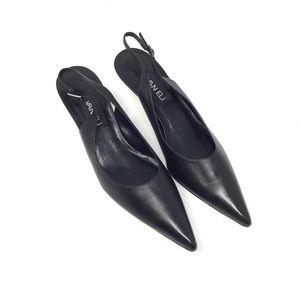 Vaneli | Pointed Toe Slingback Kitten Heels Black